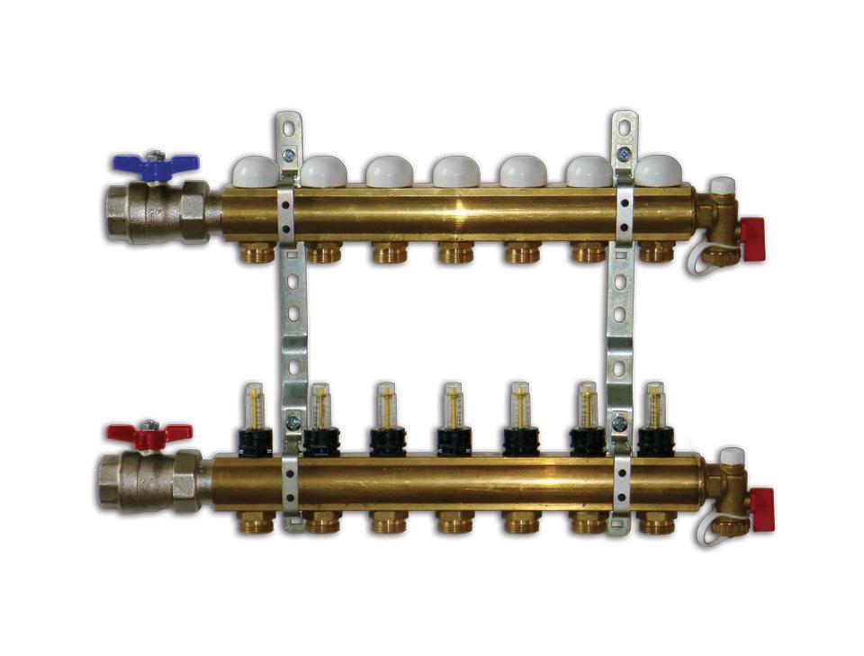 Collettori a barra in ottone da 1 per impianti a - Collettori per riscaldamento a pavimento ...